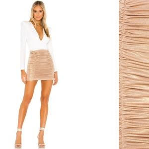 Nwt Lovers + Friends gold ruched holiday skirt xs
